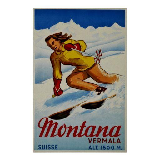 Vintage Wengen Switzerland Winter Sports Poster A3//A2//A1 Print