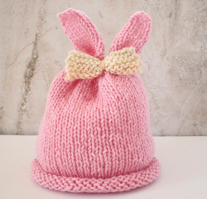 Baby Girl Bunny Ear Hat Knitting Pattern | Ear hats, Knitting ...
