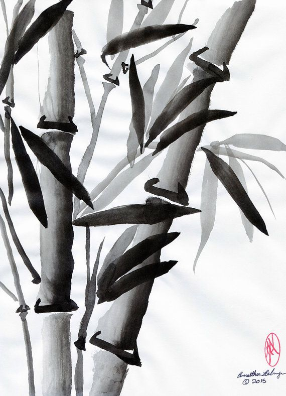 Bamboo Original Sumi E Or Chinese Brush Painting By Aelwyn