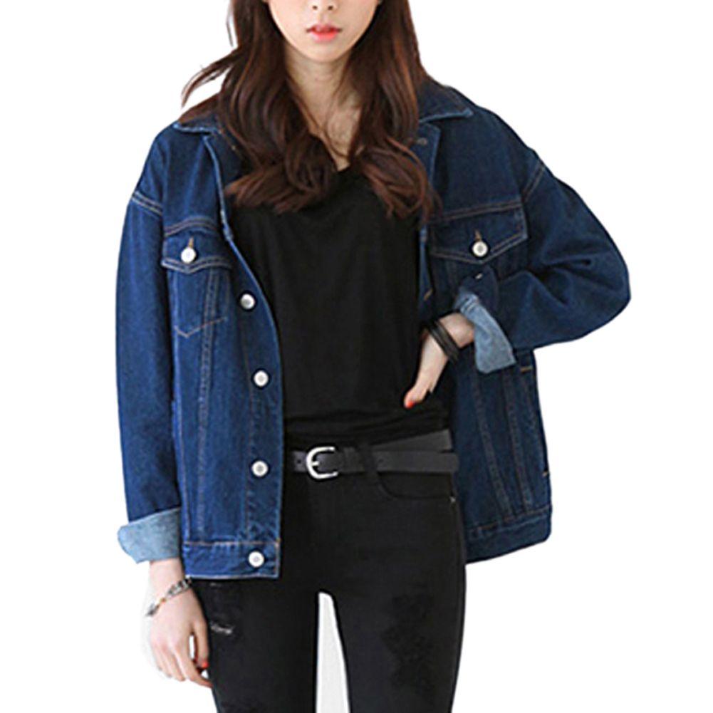 Women Loose Jeans Coat Solid Long Sleeve Pockets Outerwear Denim Casual Jacket Coat Vintage Harajuku Oversize Slim Chaquetas Denim Jacke Jacken Jeansjacke