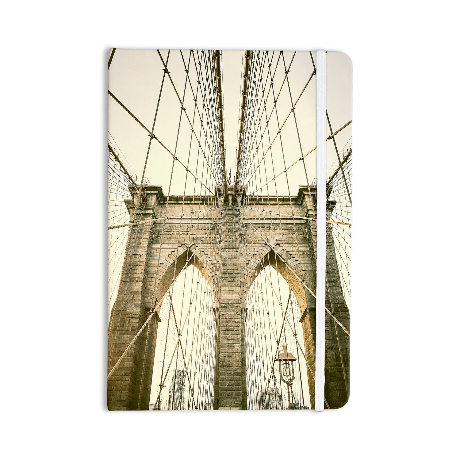"Ann Barnes ""Brooklyn Bridge Sunset"" Gold Photography Everything Notebook"