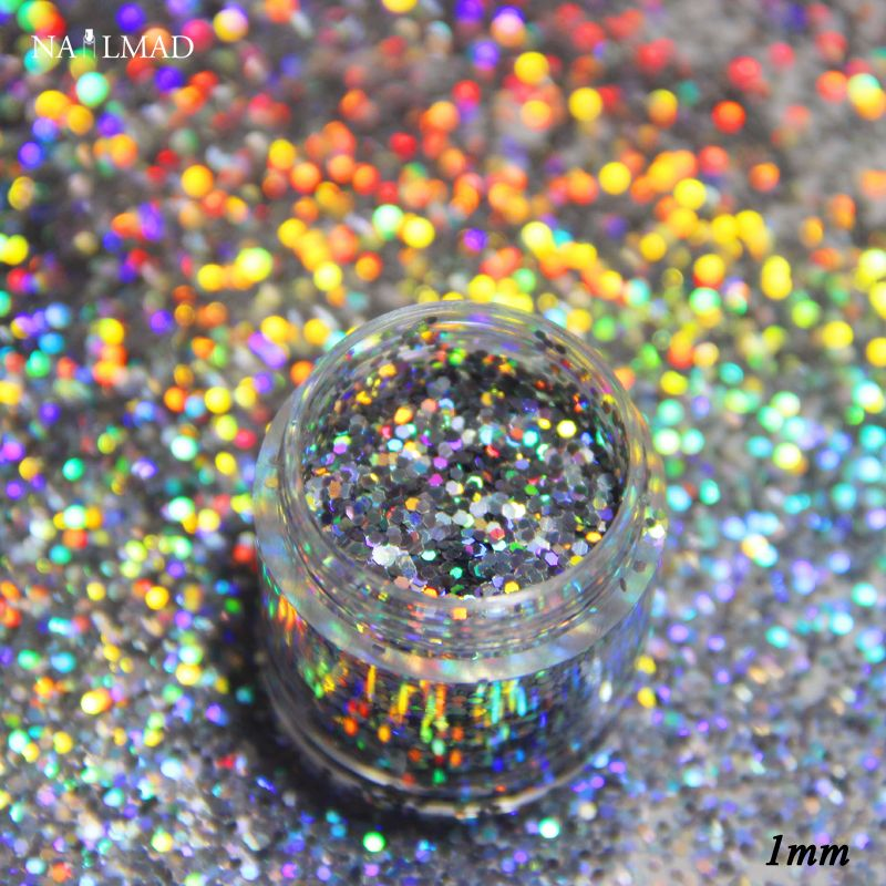 0.2mm Laser Silver Glitters Holographic Glitter Dust Powder Nails ...
