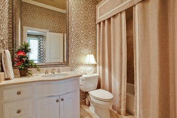 Guest Bathroom Design Would Look Great With Vessel Sink And Antiqued Cabinets Patt Modern Shower Curtains Shower Curtain With Valance Guest Bathroom Design