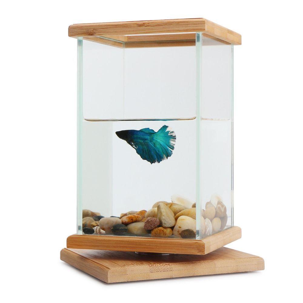 Fish tank aquarium rotatable fish bowl decoration glass for Aquarium vase decoration