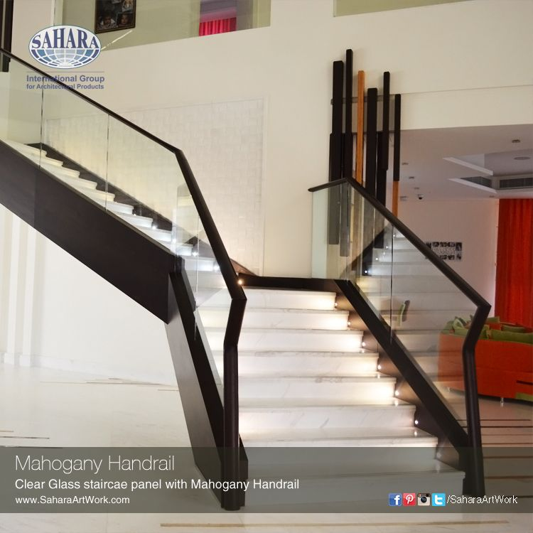 Best One Of Our Very Elegant Clear Glass Staircase Panel And Mahogany Handrail For A Modern Interior 400 x 300