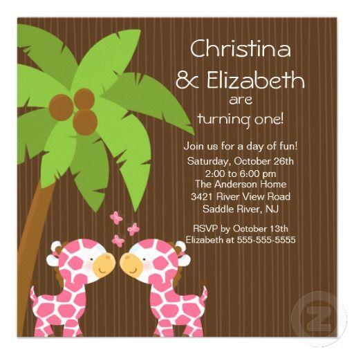 Twin Girls Safari Jungle Giraffe Kid Birthday Custom Announcements