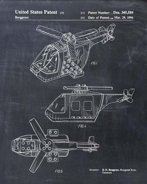 Lego Helicopter Patent Print - Lego Toy Building Blocks - Lego ...