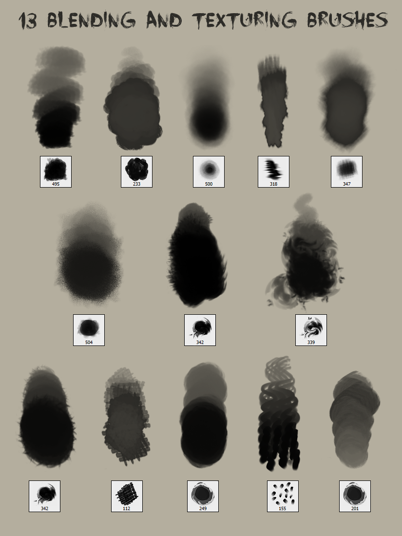 13 Blending and Texturing Brushes by god-head deviantart com