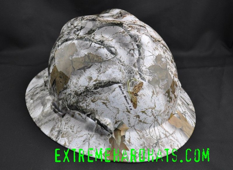 7c08fdef257 Mothwing Winter Camo hard hat. Wicked camo pattern! MSA VGard Hard Hat from  extremehardhats.com