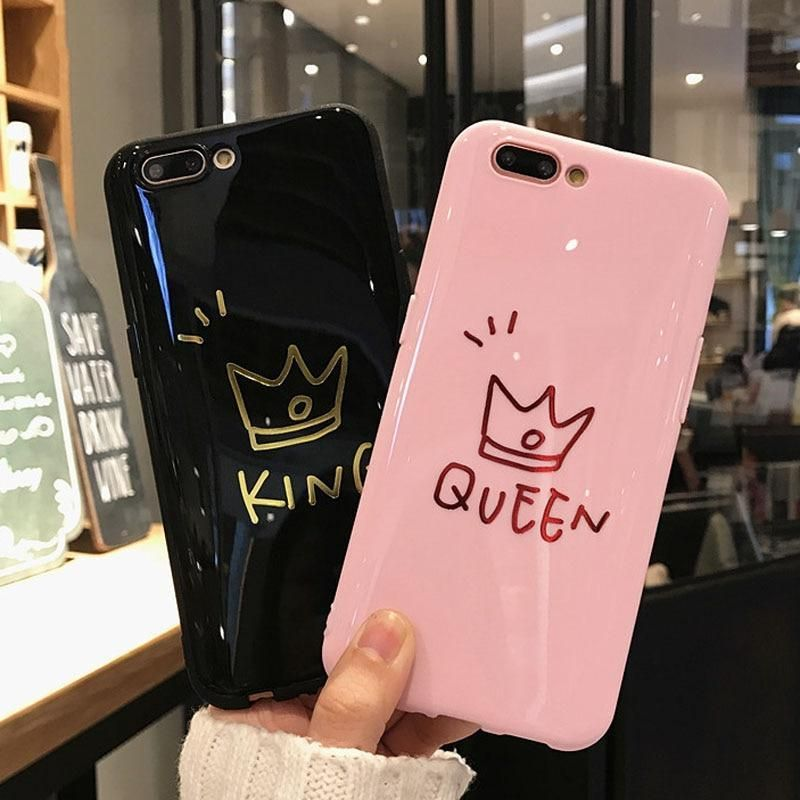 Black King Pink Queen Phone Cases For Iphone Xs Max 6 6s Plus Back Cov Matching Iphone Case Bff Phone Cases Apple Phone Case