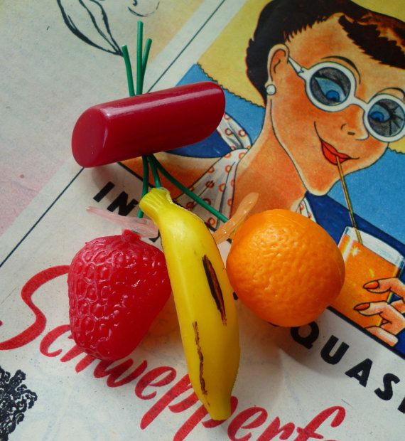 RESERVED. Tutti Fruitti 1940's 50's style handmade by Luxulite, $15.75