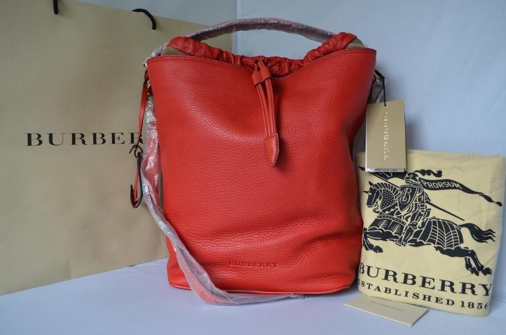 086a4350f8 NWT$1095 BURBERRY Brit Pebbled Leather Medium Ashby Drawstring Hobo Cadmium  Red
