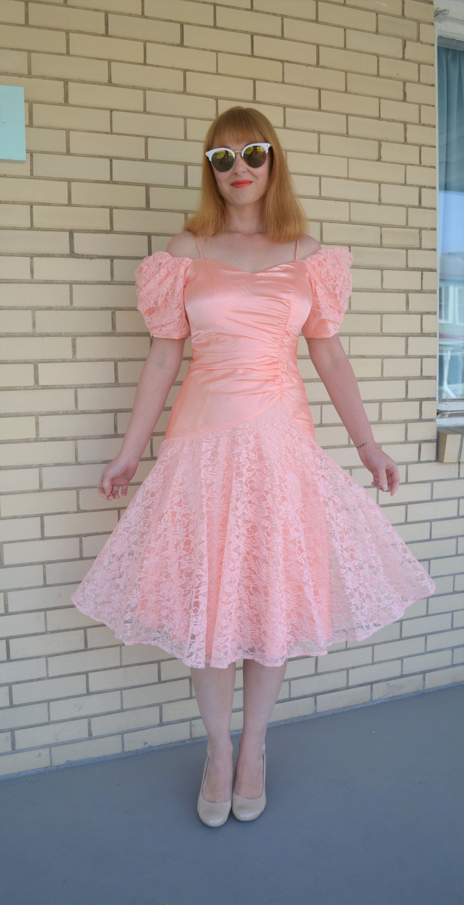 80s Peach Prom Dress Vintage Gown Puffy Sleeves Off The Shoulder