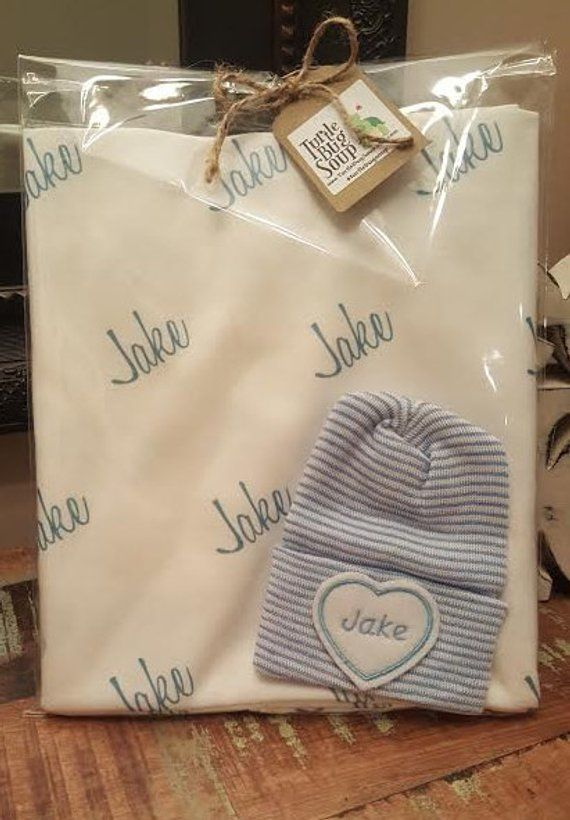 4ed9a03c1d7 Personalized Newborn Swaddle Blanket and Embroidered newborn hat. 100%  organic cotton knit Baby Blanket. Newborn Blanket and Baby Name Hat gift set .