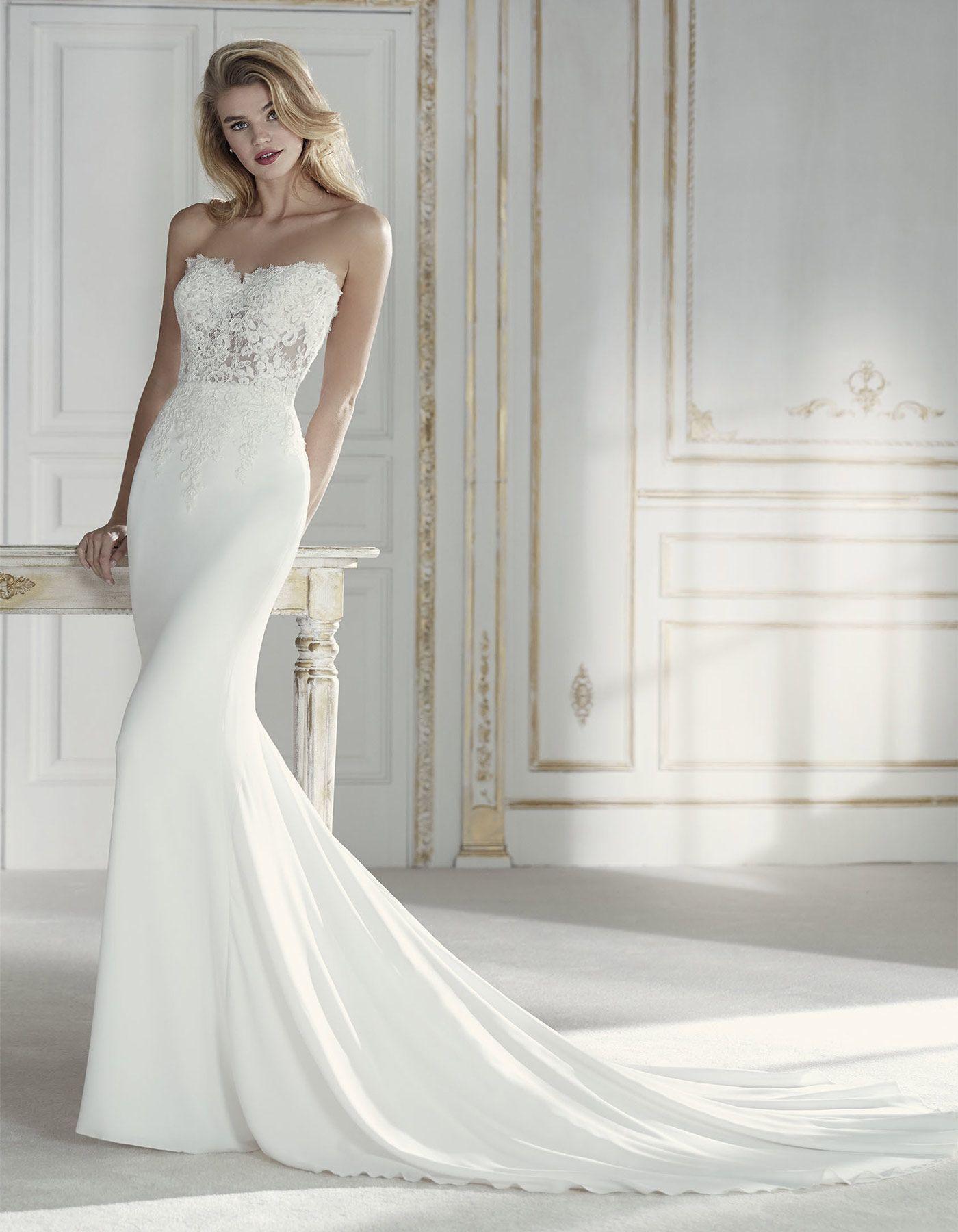 Strapless slim fitted wedding dress paciana by la sposa wedding