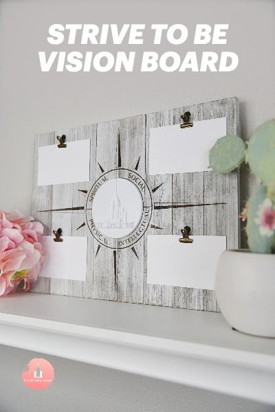 12X16 Children & Youth Strive to Be Vision Board with Temple MedallionWhitewash Vertical