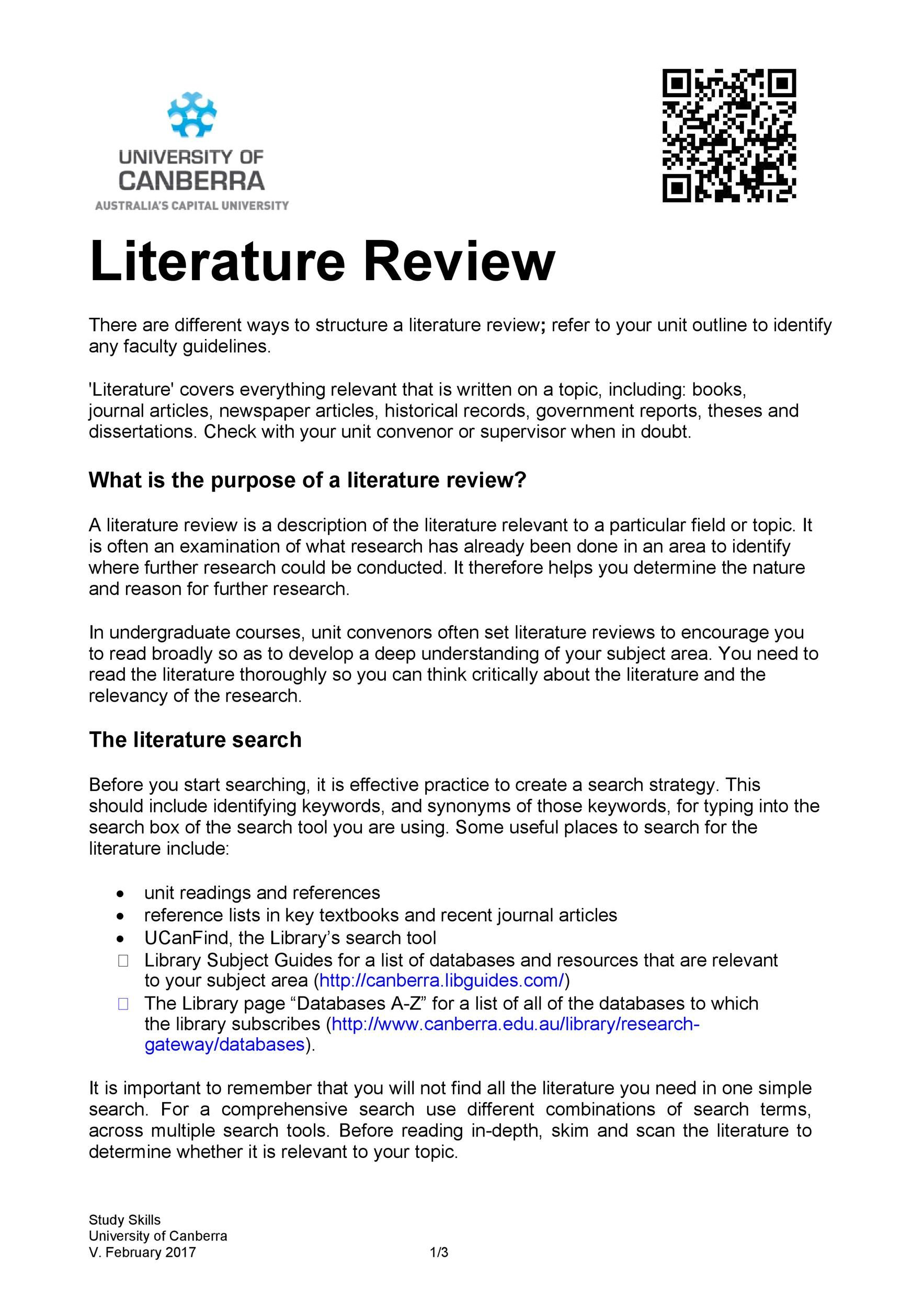 Download literature review template 25 in 25  Literature review