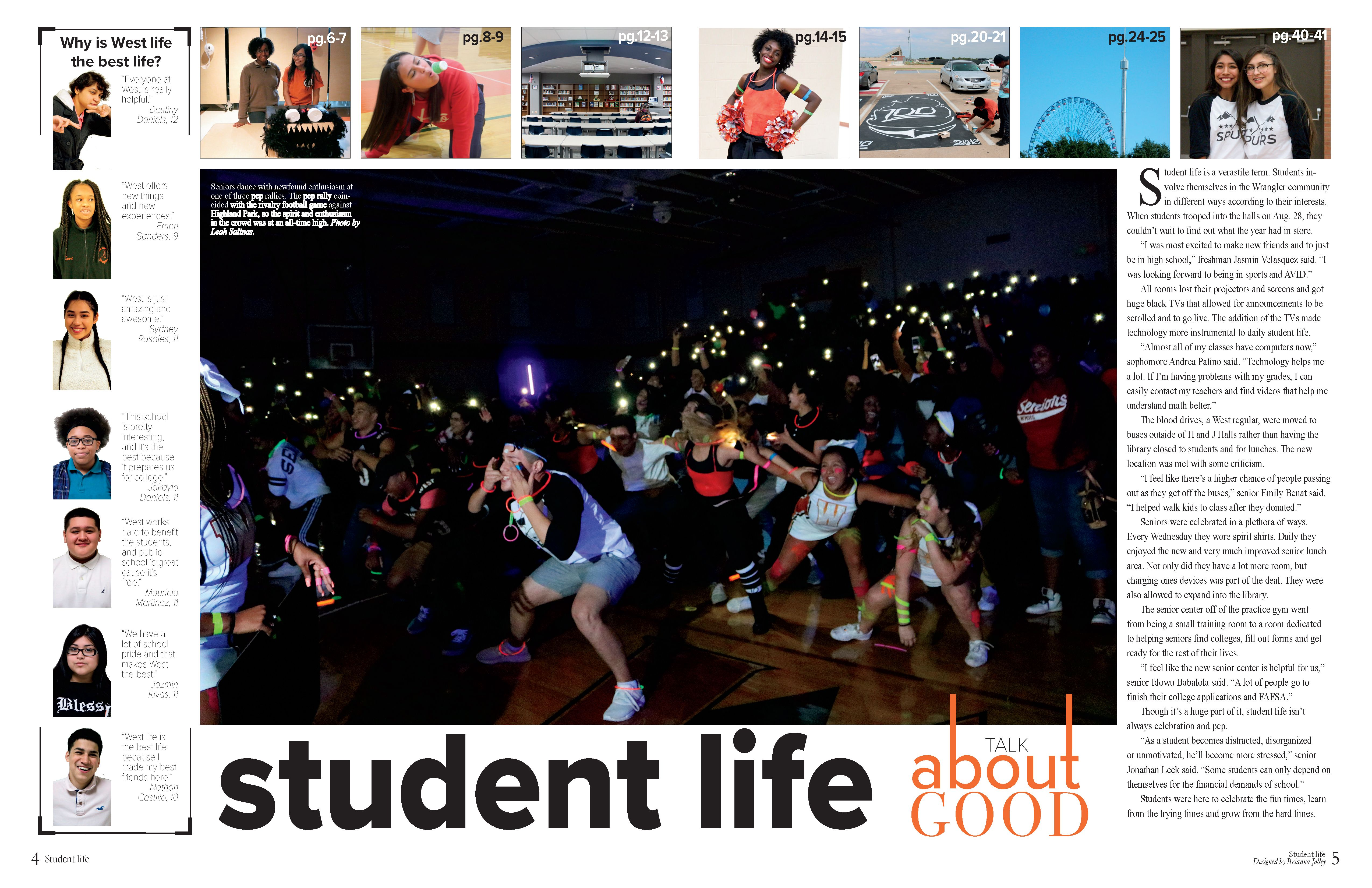 West Mesquite High School Mesquite Tx Student Life Divider With Theme Fonts Strong Dominant Visual Tab Student Life Yearbook Yearbook Pages Yearbook Staff