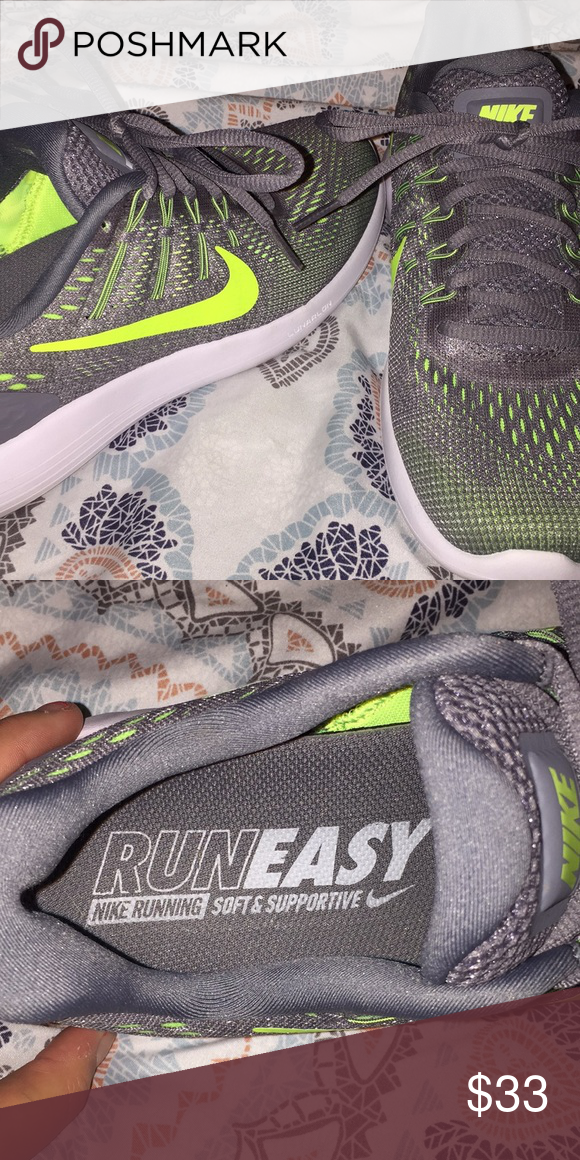 the latest 5c663 4779d Nike Run Easy Lunar Glide 8 Shoes Grey and yellow, Like New Running Shoes  Nike