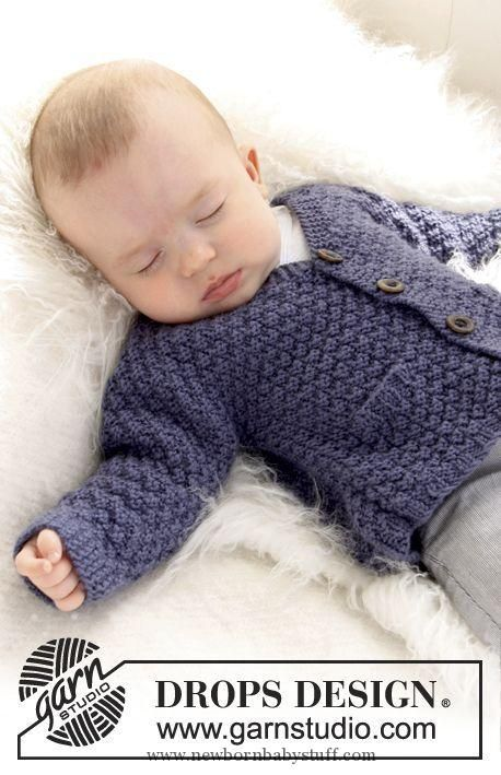 Baby Knitting Patterns Drops Jacke Mit Perlmuster In Merino Extra