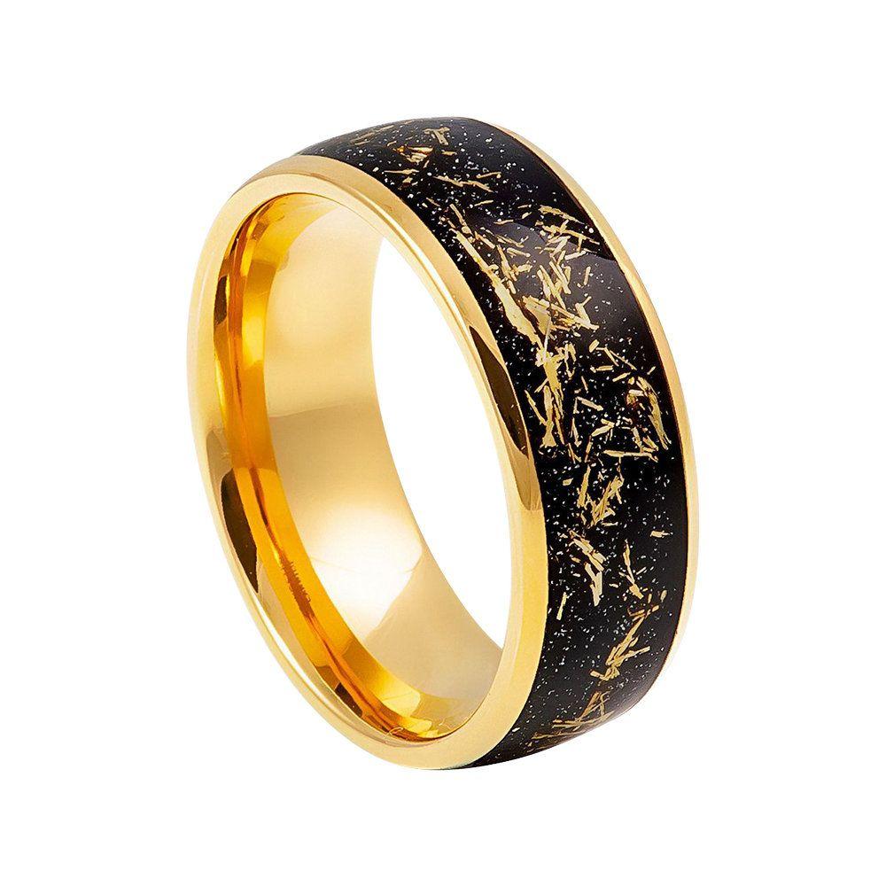 Black Gold Ring Mens Wedding Band 8mm Engagement Band Meteorite Ring Tungsten Carbide Man Weddi Black Gold Ring Rings Mens Wedding Bands Gold Wedding Band Sets