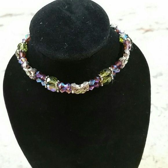 Toggle bracelet Purple,  green and silver stones Jewelry Bracelets