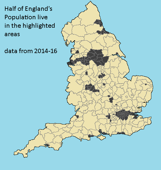 Half Of England S Population Lives In The Highlighted Area Map Of Britain Historical Maps Map