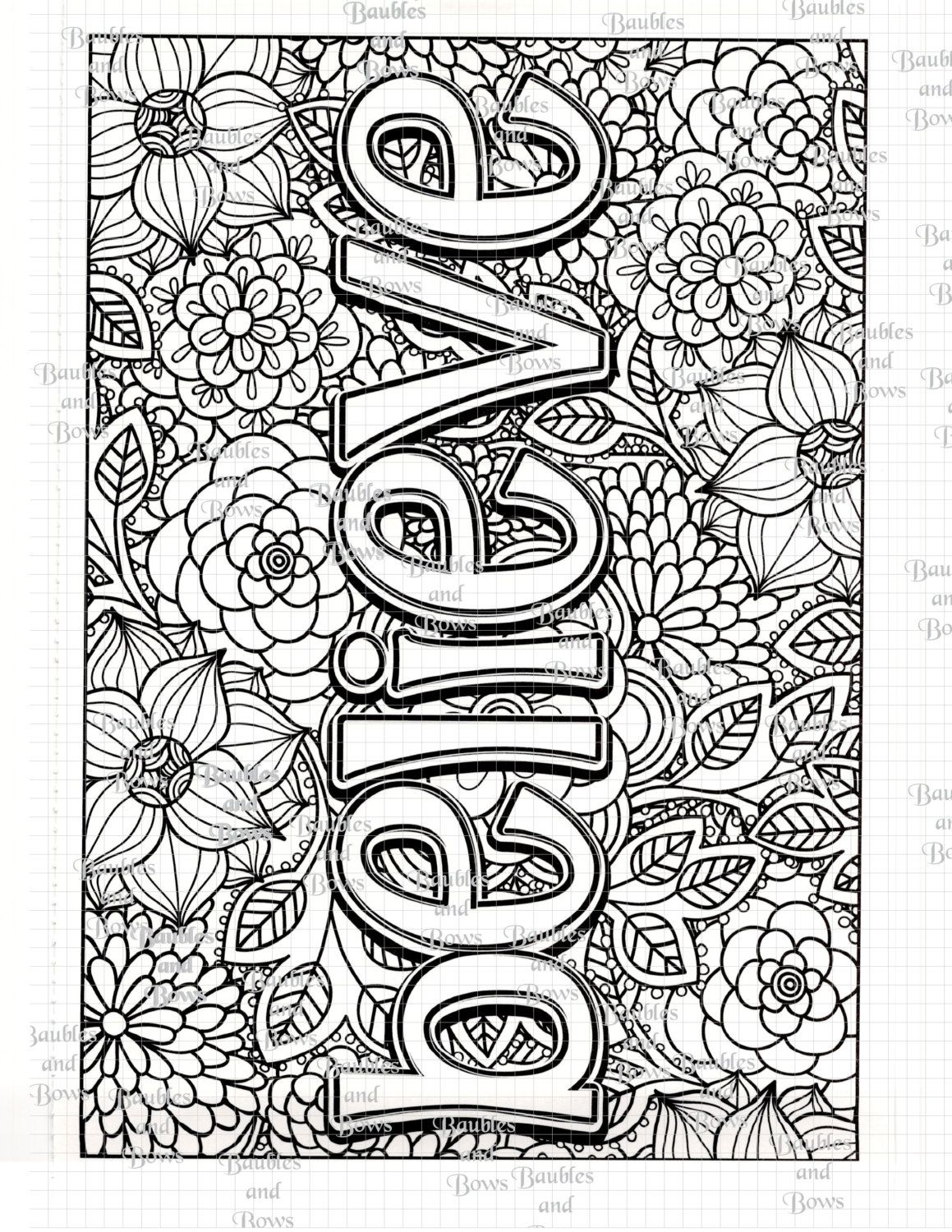 Believe Printable Adult Coloring Page Digital By Sewlacee