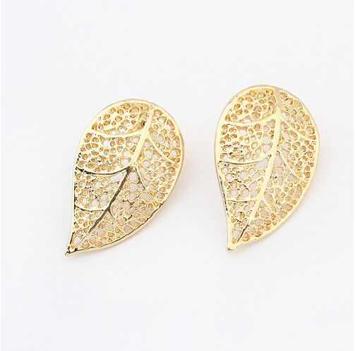 Fashion Fancy Leaf Shape Stud Simple Gold Earring Designs For Women Free Shipping Worldwide