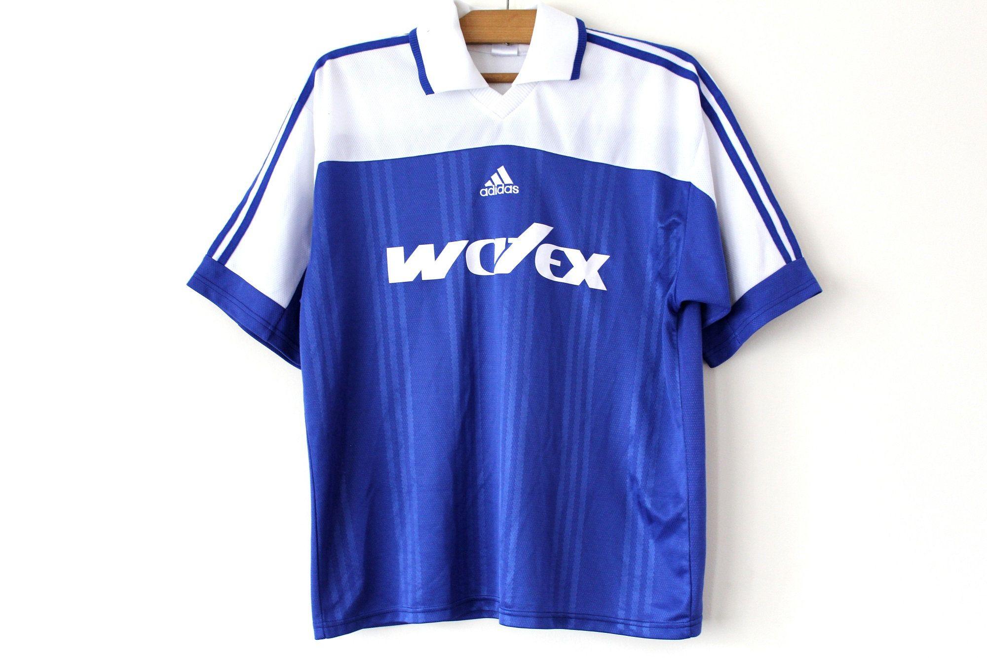 Retro Adidas Football Shirt Made In Portugal Shiny Adidas Soccer Shirt Blue White Adidas Jersey Adidas Sports Tshirt Designs Football Shirts Soccer Shirts