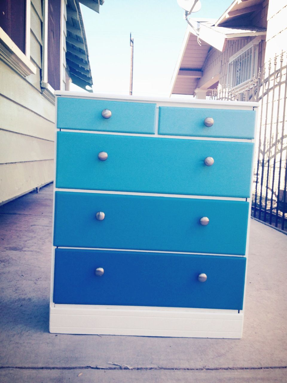 White Dresser With Gradient Blue Drawers Blue Drawers Blue Dresser White Dresser