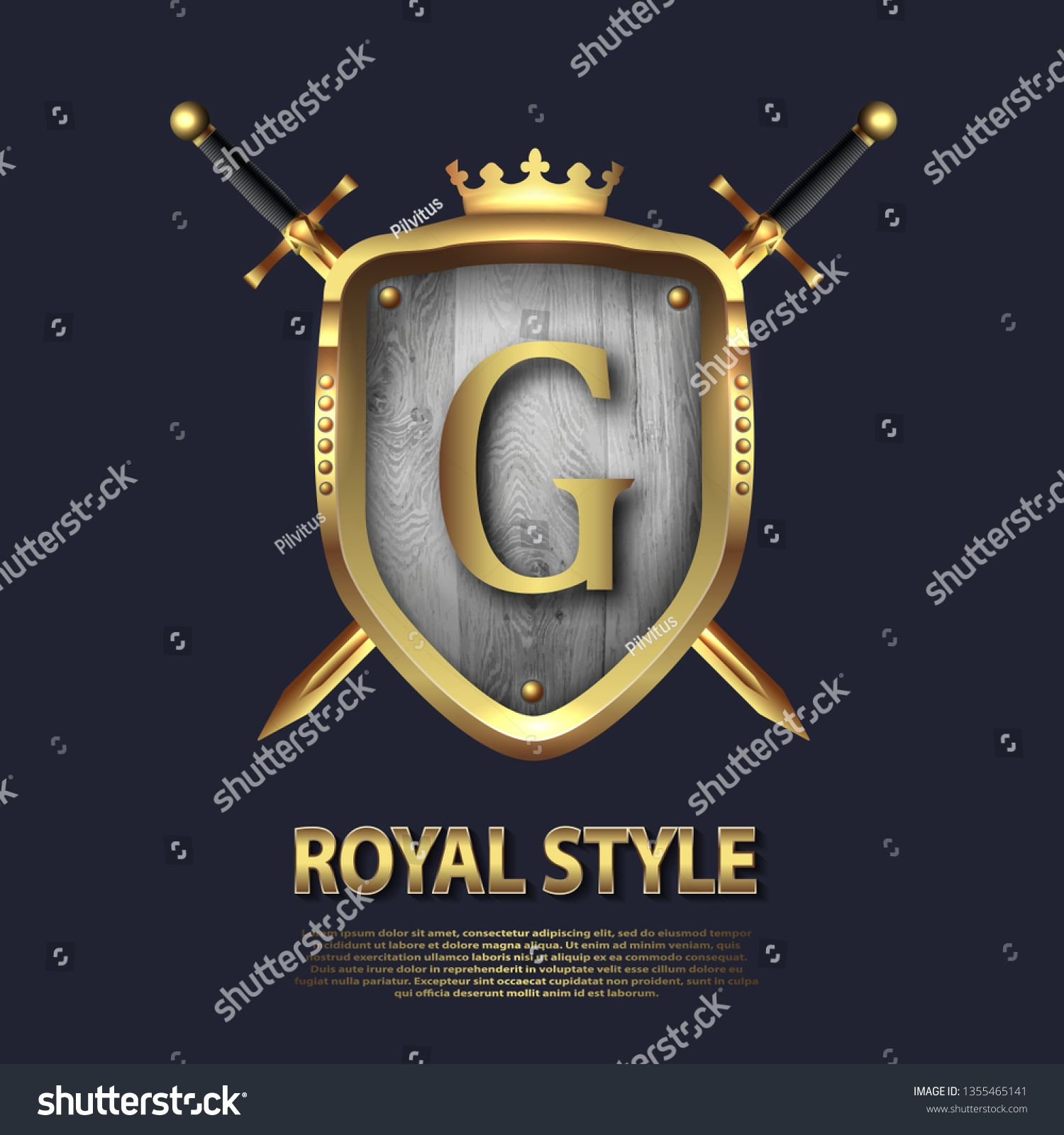 Two crossed swords and shield with crown and letter G