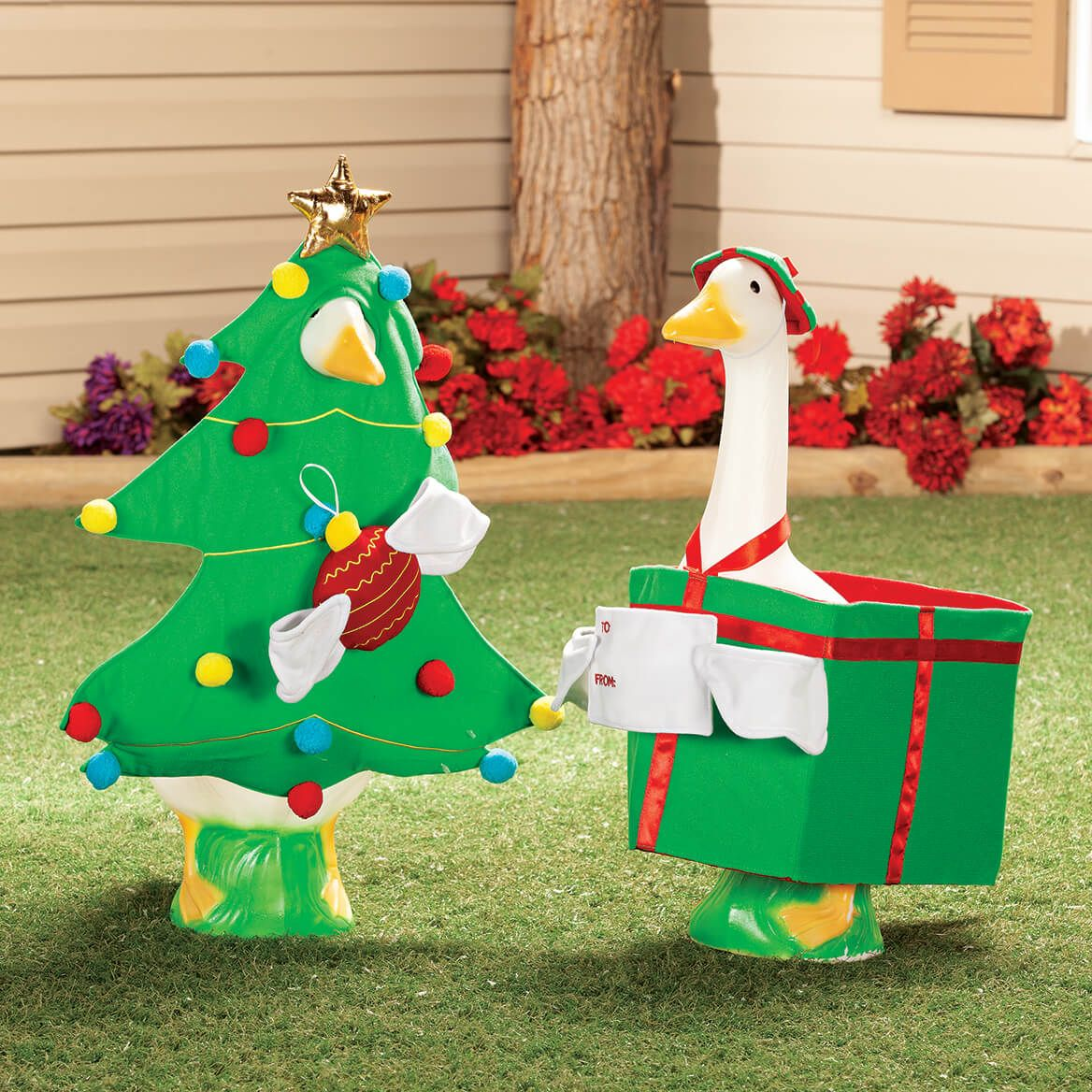 Christmas Tree Goose Outfit Miles Kimball Goose Miles Kimball Goose Clothes Christmas Yard Decorations Christmas Tree With Presents