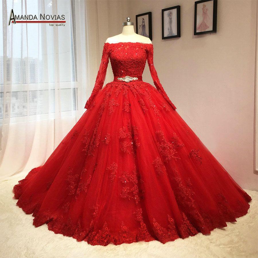 pas cher 2016 date rouge robe de mariage puffy robe de bal manches longues mod les acheter. Black Bedroom Furniture Sets. Home Design Ideas