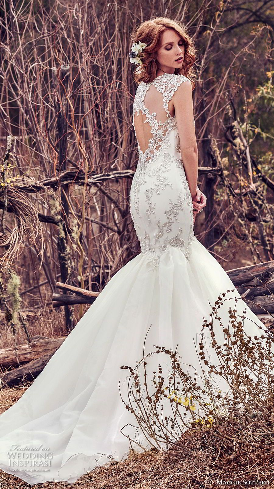 7d4e2919eb19 maggie sottero fall 2017 bridal cap sleeves scoop neckline heavily  embellished beaded bodice elegant mermaid wedding dress keyhole back chapel  train (978) ...