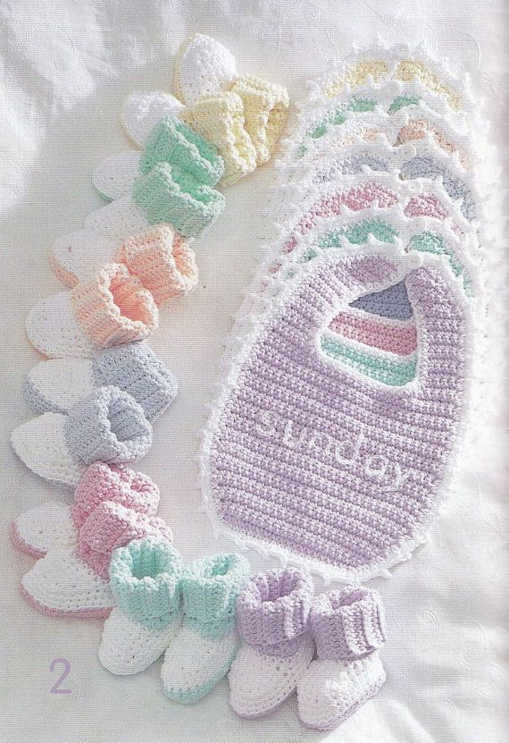 Bibs and Booties Crochet Patterns - Bernat Handicrafter Cotton ...