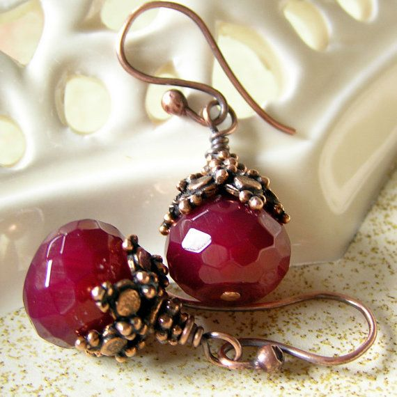 Red Earrings with Antiqued Copper