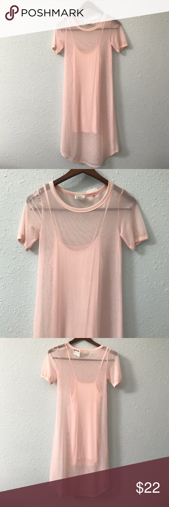 371fda82f2d1 NWT Caution to the Wind blush sheer T-shirt dress This lightweight blush  colored sheer T-shirt dress from Caution to the Wind is perfect to wear  underneath ...