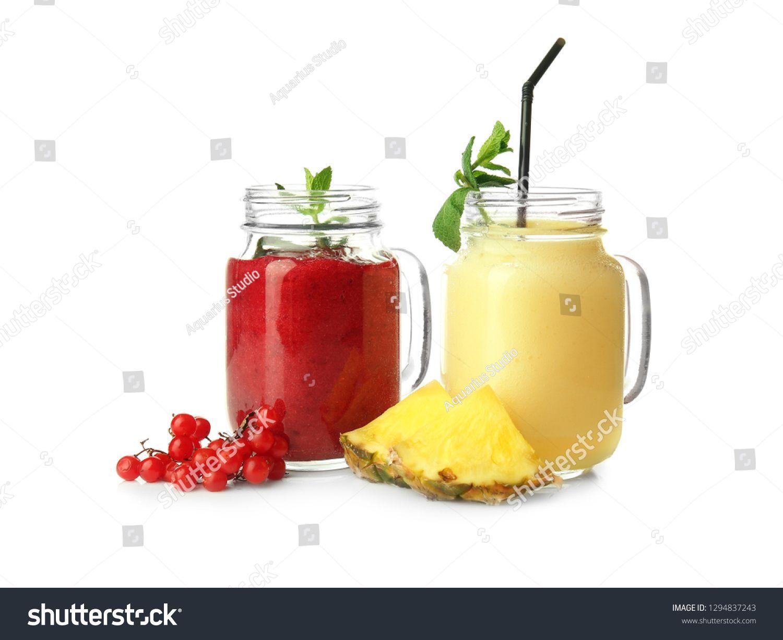 mason jars with tasty fruit smoothies on white background sponsored ad tasty jars mason fruit fruit smoothies yummy fruit smoothies smoothies pinterest