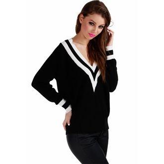 Czarny sweter z dekoltem i białymi paskami
