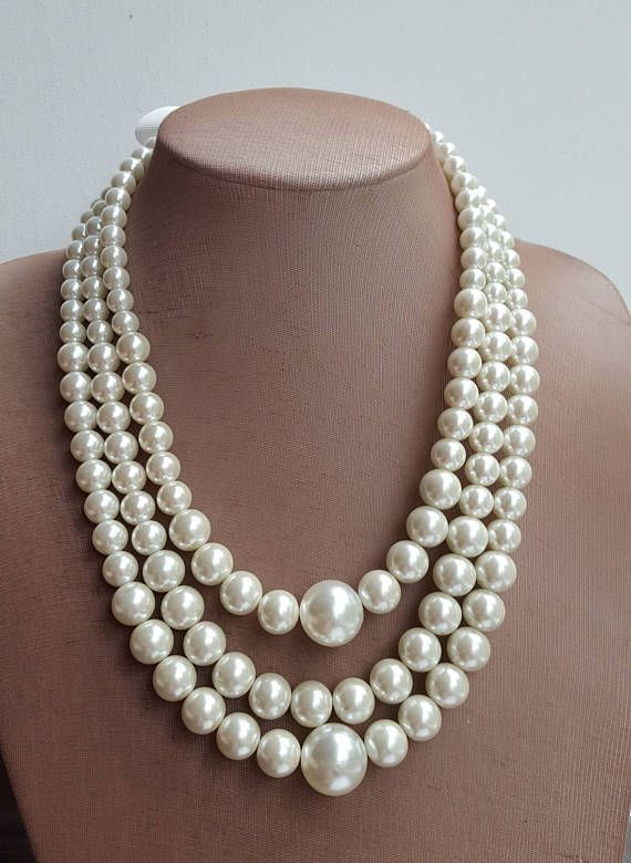 bb836c8f9 Multilayer large Pearl Statement Necklace, Chunky Bridal Necklace, 2017  trending jewelry, three strand pearl necklace, wedding necklace I made this  necklace ...