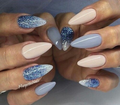 Nude And Blue Nails Itll Be Nice If There Square Or Round