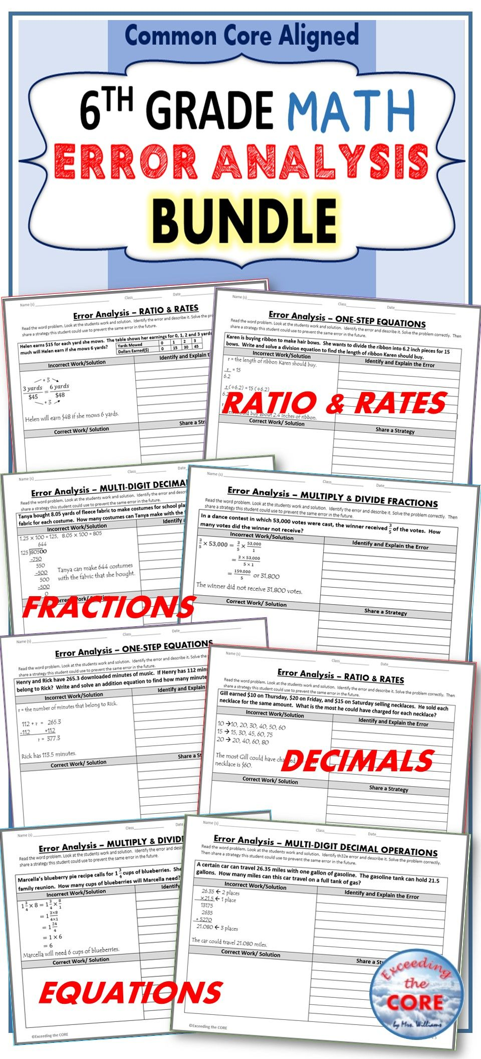 6th grade math error analysis find the error common core bundle 6th grade math error analysis common core bundle have your students apply their understanding of math concepts with these error analysis activities fandeluxe Choice Image