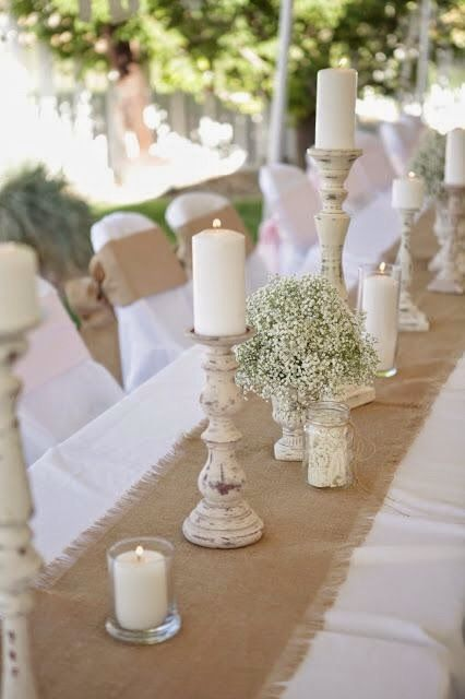 Create drama with a burlap runner over a simple white table cloth and rustic candle holder centerpieces & Imagen de http://i1.wp.com/2.bp.blogspot.com/--E1zrpufGHI/VO9n-lP ...