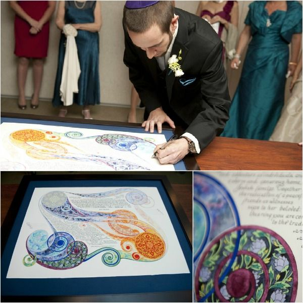"""Elana and Ben featured on @mazelmoments.com signing """"Embrace"""" by Amy Fagin available on Ketubah.com  #weddings #ketubah"""
