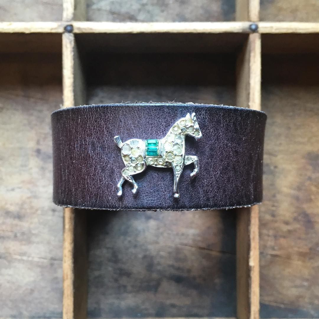 """Upcycled brown leather cuff w/vintage horse pin. $22.00.  Cuff is 1"""" wide.  Snaps can be added to fit any size wrist.  #thedevores by thedevores"""