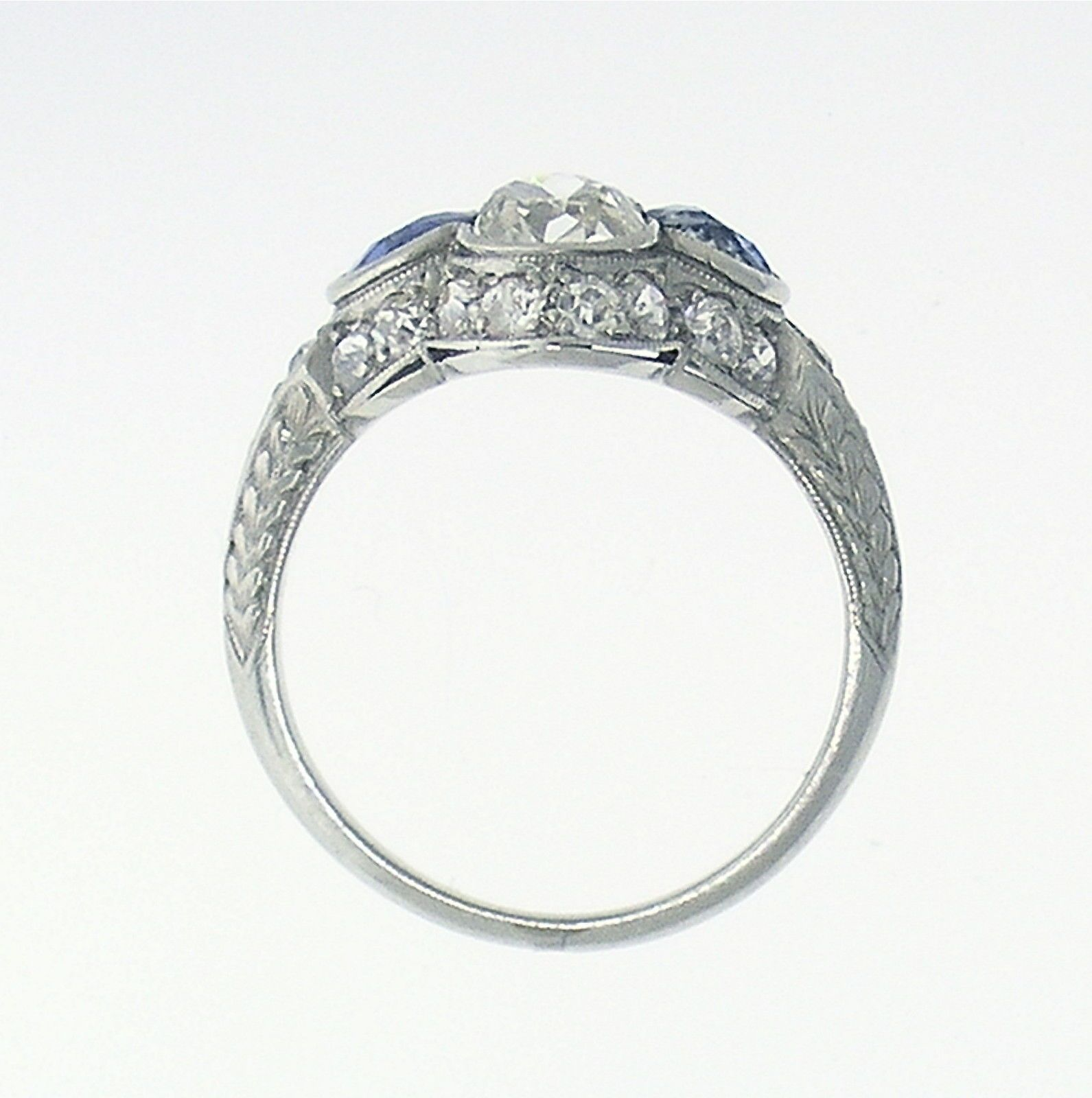 Enchanting Art Deco Diamond & Sapphire Platinum Ring Circa 1920