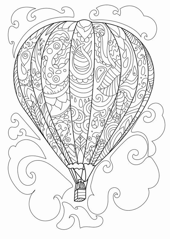 Hot Air Balloon Coloring Page Coloring Pages Mandala Coloring Pages Coloring Pages For Grown Ups