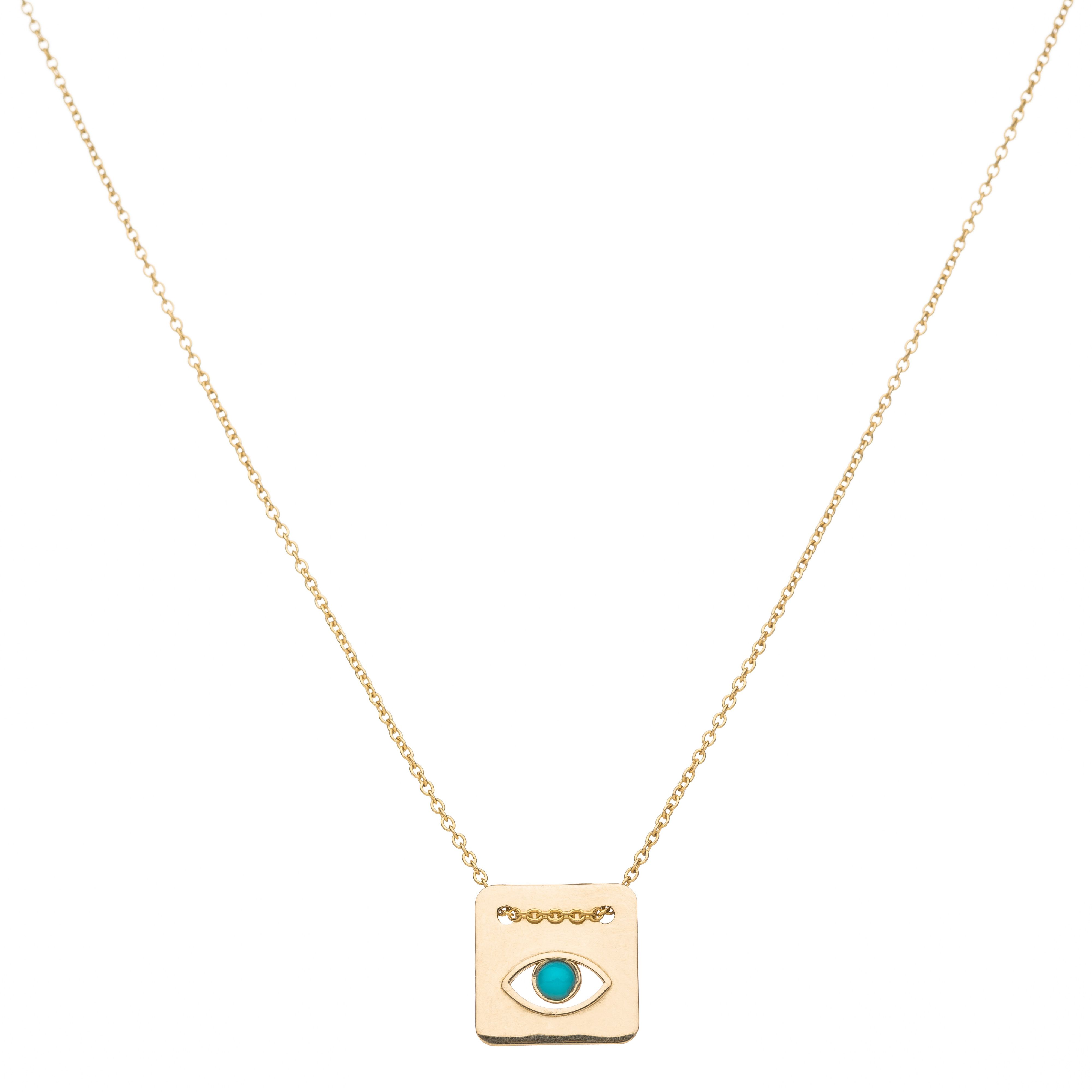 Lucky me k gold evil eye pendant set with a turquoise stone in