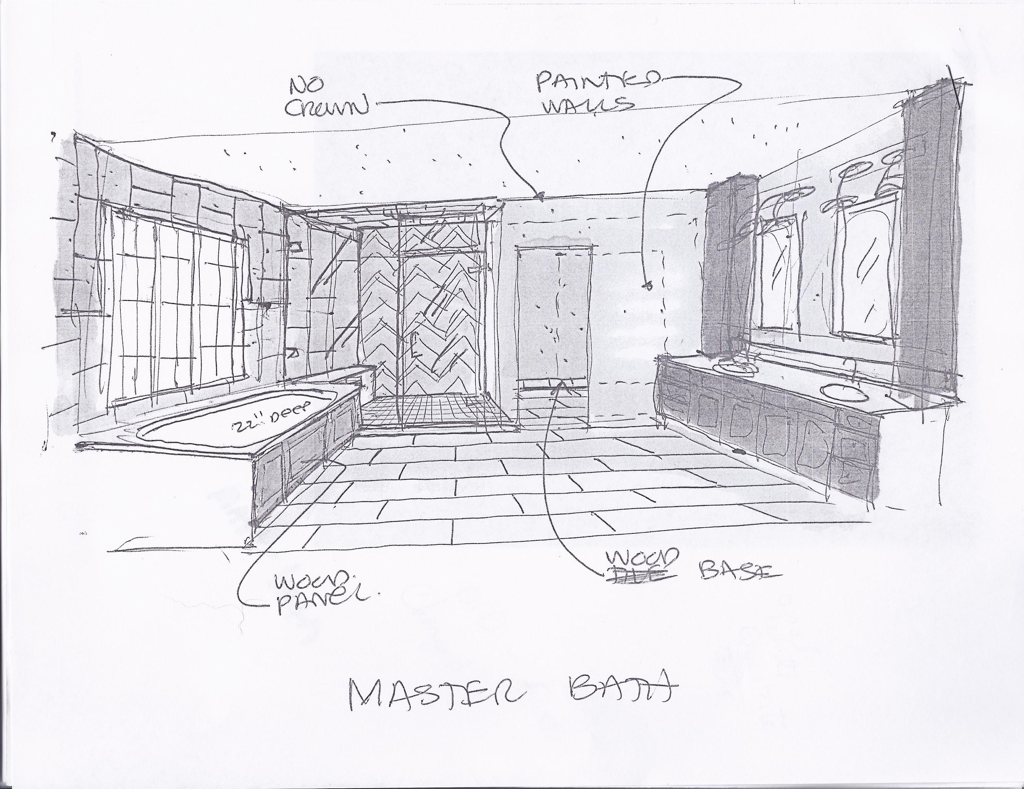 Sketch Of Master Bathroom Sketch Drawn By Thomas Baio Architect